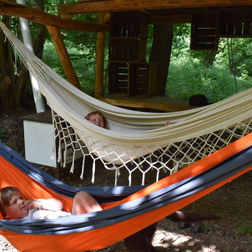 Relaxing in the Hammocks at Hunza Ecolodge