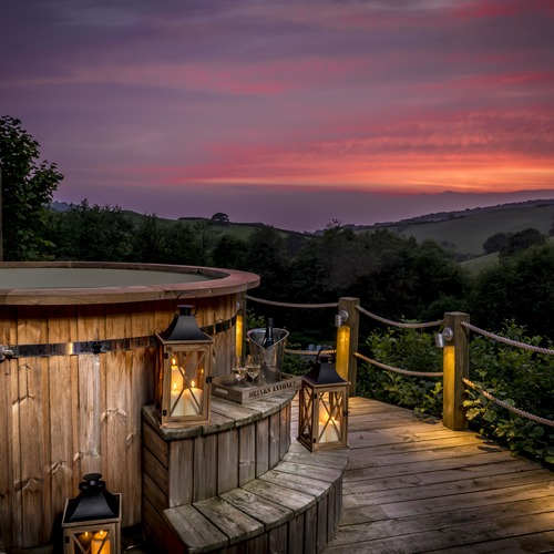Sunsets in the Hot Tubs at Longlands