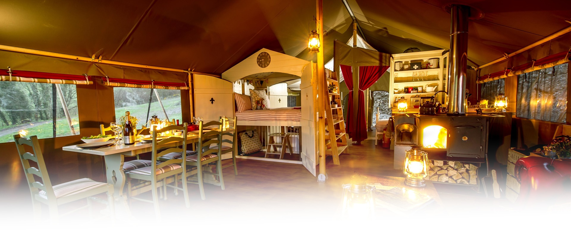 Longlands Tents Interior Dining