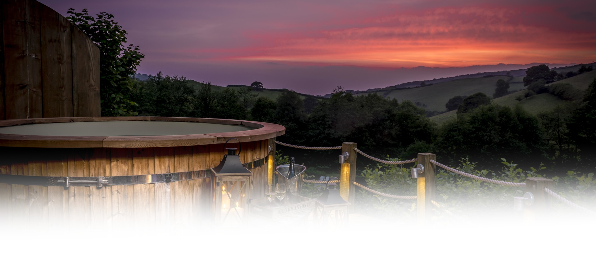 Longlands Hot Tub at Sunset Red
