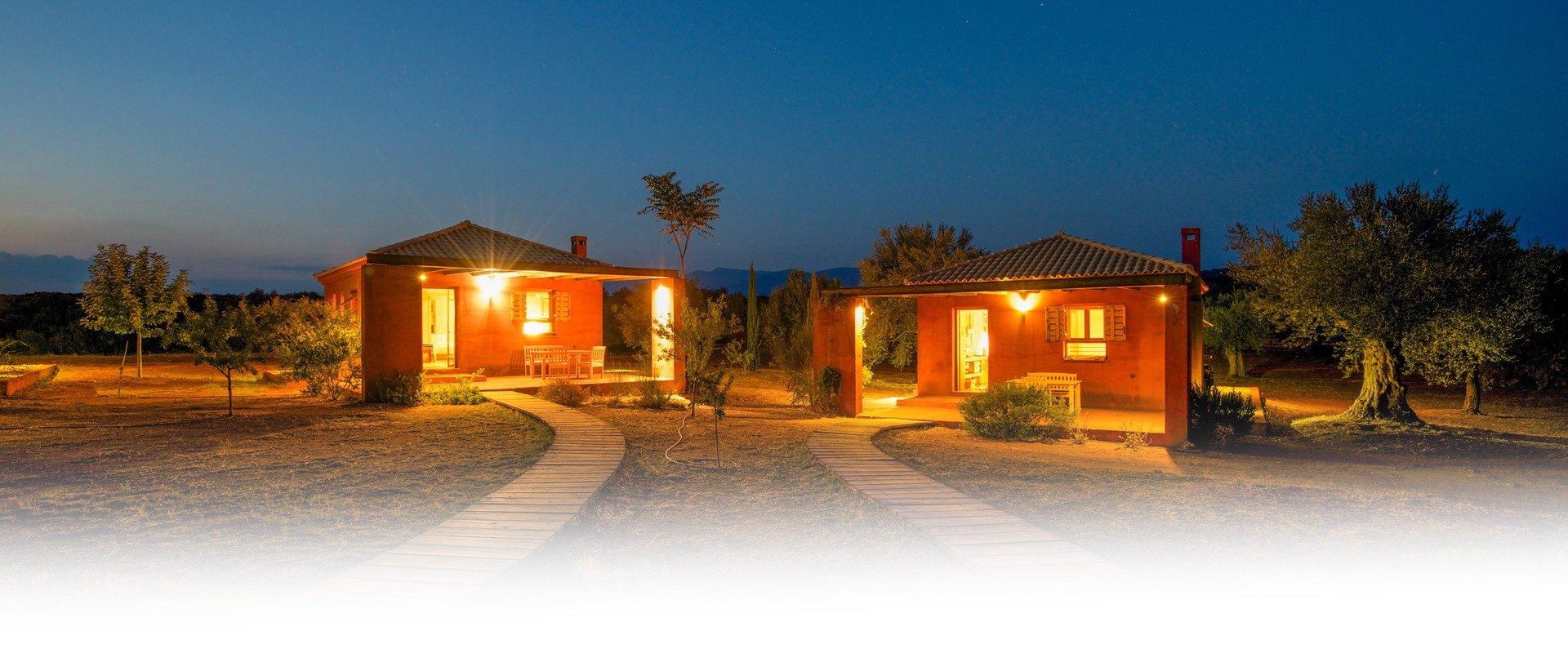 Eumelia Cottages at Night